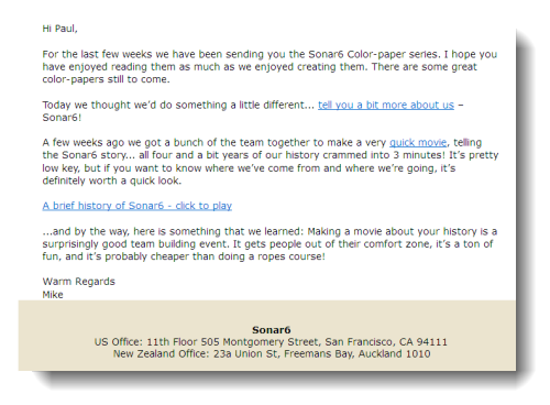 Sonar6 email